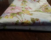 Pequot Twin Flat Sheet Multi-Color Floral Pattern Vintage No Iron Percale Bed Linens