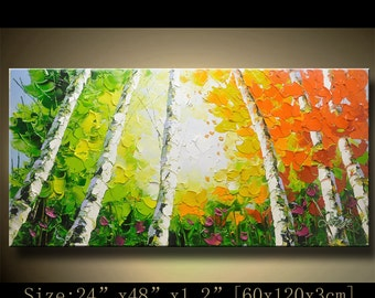 contemporary wall art, Palette Knife Painting,colorful tree painting,wall decor  Home Decor,Acrylic Textured Painting ON Canvas by Chen B014