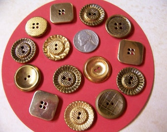 Lot of 14 Vintage Metal Buttons Sew Thrus Gold Tone 7/8""