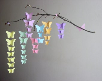 "Butterfly Baby Mobile ""Pastel Rainbow"" - Whimsical Baby Girl Mobile - Pastel Nursery Decor - Baby Shower Gift - Unique Baby Gift-Crib Mobile"