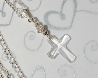 Swarovski Crystal Cross With Silver Chain And Accents Wedding Party Necklace Crystal Cross Pendant Necklace Cross Necklace