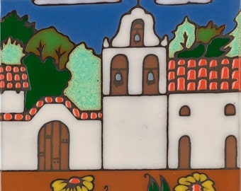 Ceramic tile, La Purisima Mission, hot plate, wall decor, installation, backsplash, kitchen tile, hand painted, hand crafted, Mission
