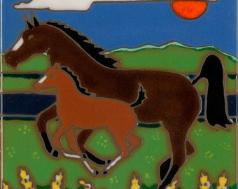 Ceramic tile, Horse and baby , hot plate, wall decor, installation, backsplash, kitchen tile, hand painted, hand crafted, art tile