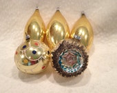 Five Large Vintage Christmas Ornaments West Germany