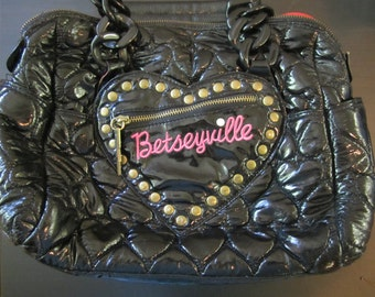 "Betsey Johnson ""Betseyville"" Black Shiny Purse"