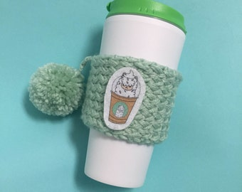 Knitted Coffee Cozy, Handmade Coffee Cozy, Cup Cozy, Llama Cozy, Cup Sleeve, Pom Pom