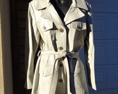 Leather trench coat, vintage ecru grey genuine leather jacket, 70s, 60s