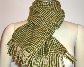 Handwoven merino scarf in olive and pale peach