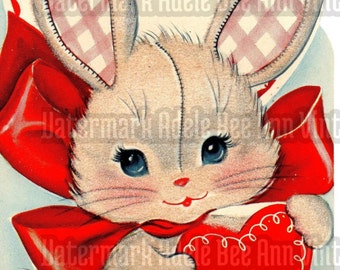 Vintage 1940s Original Valentine's Day Greeting Card Bunny Rabbit For Mommy Children Love Note Sweet Nothing