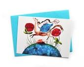 Fairy Tale Postcard, Watercolor Greeting Card, Horse Postcard, Watercolor Postcard