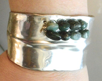 Rustic Brutalist Antique Solid Sterling Silver Wide Cuff Bracelet Genuine Emerald Gemstone Armlet Bangle Eco Friendly .925 Bohemian Boho