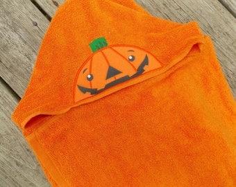 Pumpkin Personalized Hooded Towel Halloween Decor Halloween Bathroom Decor Halloween Bath Towel