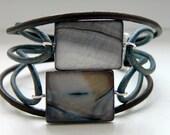 Natural Dark Brown Sea Blue Leather Nacre Focal Beads Bracelet - Inspired by Black Sails