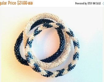 Summer Sparkly Blue and Silver Crocheted Beaded Bracelet Set,BS120