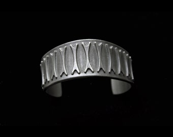 1960s Modernist Brødrene Mylius Norway Tinn pewter cuff bracelet Scandinavian