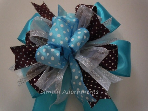 Blue Brown Baby Shower Party Decor Brown Blue Polka Dots Baby Shower Decor Birthday Party Decoration Blue Brown Topper Gift Bow
