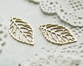 10pcs steel copper plating gold leaf pendant finding