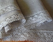 Organic linen tablecloth gray lace and linen square table cloth gift ideas