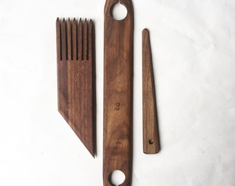 walnut weaving tools, set of three