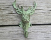 Deer Head Hook - Fathers Day Gift, Hunting Decor, Deer Antler Decor, Deer Head Wall Mount, Deer Antler Hook, Cast Iron Wall Hook, Key Hook