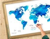 Wedding Guest Book Watercolor  World Map - Custom Color - Add Quote, Date - Wedding Decor - Personalized Guest Book Map - SAPPHIRE Color