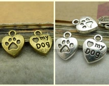 50PCS heart shaped love my dog charm pendant carved paw back 10x13mm antique silver or antique bronze as your choice