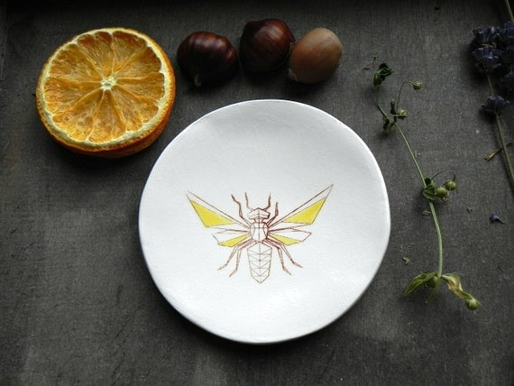 Honey Bee Porcelain Ring Dish Insect White Ceramic Plate Bug Jewelry Dish Silk Screen Design