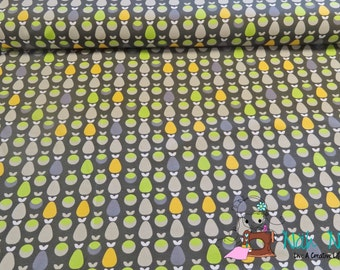 0,5 x 1,6 m JERSEY knit fabric Vicente APPLES and PEARS, grey, 92/8% cotton/spandex