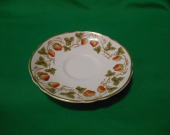 """One (1), 5 5/8"""" Bone China, Tea Cup Saucer, from Crown Staffordshire, in the A-16596 Strawberry Pattern."""