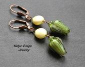 Earrings flowers, earrings olive, earrings lampwork, earrings handmade, earrings swarovski pearl, olive yellow earrings, dangle earrings