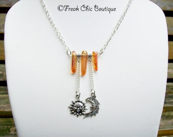 Sun and Moon Celestial Necklace with Tangerine Quartz, Moon Jewelry, Gift for her