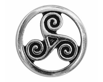 6 TierraCast Open Triskele 5/8 inch ( 16 mm ) Silver Plated Pewter Buttons