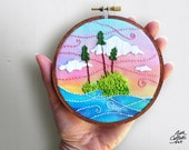 Woodland Embroidery Hoop Art, Boho Landscape, Lake House Decor, Cabin Wall Decor, Wilderness Art, Fiber Art, Nature Inspired, Gift for Hiker