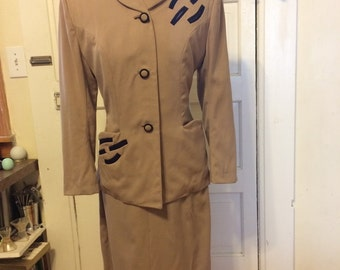 1940s Lilli Ann Suit with navy details