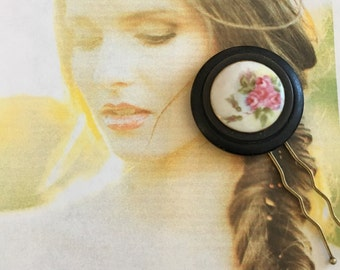 Decorative Hair Pin Bridal Jewelry Victorian Edwardian Hand Painted Pink Rose Hair Pin (1) Large