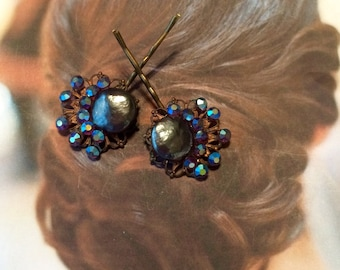 Decorative Hair Pins Jewelry Weiss 1950's AB Rhinestone Pearl Teal Bridal Blue Bobby Pins