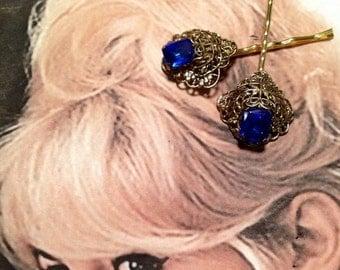 SALEWindyDays Decorative Hair Pins Jewelry 40's Cobalt Blue Filigree Hairpins Bobby Pins