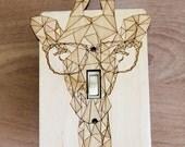 Wood Laser Cut Giraffe Light Switch Plate / Cover (single switch)