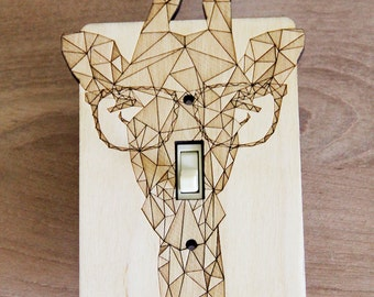 Wood Laser Cut Giraffe Light Switch Plate / Cover (single switch)