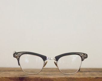 Vintage 1950's Art Craft Aluminum Gray Cat Eye Eye Glasses