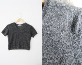 Vintage Grey Felted Stretchy Crop Top Sweater