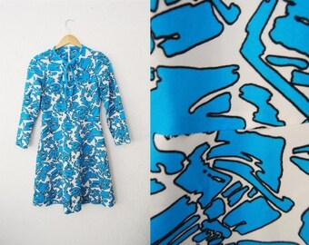 Vintage 1960s Bright Print Mini Dress / Blue / Mini / Mod