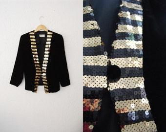 Vintage 90s Black Velvet Sequin Stripped BlazerJacket / Party/ Trophy/ Fall Trend29