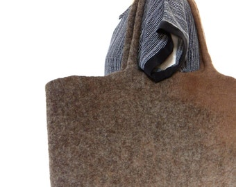 Ahs Brown Wool Felted Tote Bag,  Felted Wool Message Bag, eco friendly,Slow Design, momoish made
