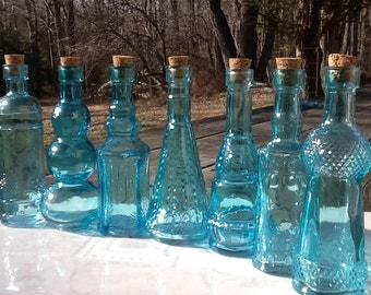 30 Blue Glass Bottles  Bottle Collection Blue Glass Blue Bottles Wedding Decor Vintage Wedding Decor