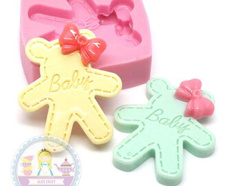 Cute Bear with Ribbon Cabochon 31mm Food Safe Bakery Chocolate Fondant Candy Soap Cookie Deco 381L* BEST QUALITY