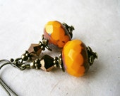Autumn Orange Earrings. Handmade Czech Glass Earrings. Fall Harvest Wedding Jewelry. Burnt Orange, Pumpkin, Copper and Bronze Gifts for Her.