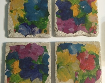 Abstract Floral Ivory Marble Tile Coasters - Set of 4 (Item 4006)