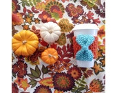 KNIT CUP COZY - The Pumpkin Spice Latte series - Orange Cozy with Turquoise Knit Bow, Mug Sleeve, Knitted Mug Cozy, Reusable cup sleeve