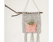 Knitted Air Plant Wall Hanging, Knit Plant Holder with Beach Twig, Boho Home